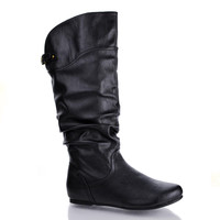 Kalisa69 Black Pu by Wild Diva, Black PU Round Toe Adjustable Buckle Mid Calf Slouchy Pull On Boots