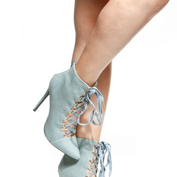 Denim Lace Up Booties @ Cicihot Boots Catalog:women's winter boots,leather thigh high boots,black platform knee high boots,over the knee boots,Go Go boots,cowgirl boots,gladiator boots,womens dress boots,skirt boots.