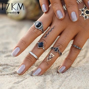 17KM Fashion Bohemian Turkish Midi Ring Set Steampunk Knuckle Rings for Women Vintage Anel Joint Ring 5PCS/Set