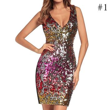 Women Fashion Sexy Sequin V neck Package Buttocks Short Skirt Mini Dress Tank Bodycon Sexy Dress