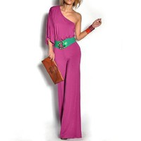 Amazon.com: Allegra K Woman Asymmetric Sleeve Stretchy Jumpsuit Fuchsia Color S: Clothing