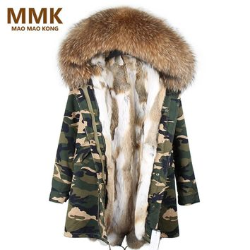 2017 Parka Feminina Long Winter Jacket Coat Women Parkas Camouflage Real Raccoon Fur Collar Hooded Natural Rex Rabbit Fur Liner