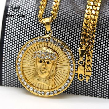 "Mens Stainless Steel Gold Iced Out Lab AAA Zircon Jesus Christ  Face Medallion Engrave Halo Pendant  27.5"" Cuban Chain Necklace"