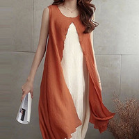 Orange Sleeveless Front Split Layered Dress