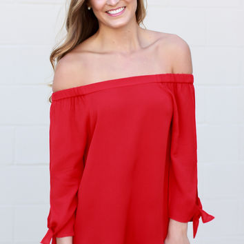 Lesson Learned Off The Shoulder Top - Red