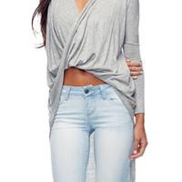 Long Sleeve Grey Wrap Shirt