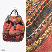 Sisal Woven Back Pack // Vintage // Market Bag // Rucksack // Bohemian // African Inspired Gypsy Bag