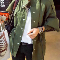 Army Green Pocket Detail Zipper Coat