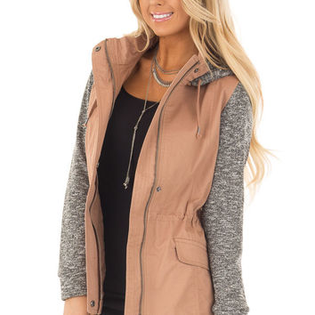 Deep Blush Hooded Jacket with Grey Knit Contrast