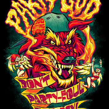 PARTY GOD (red) Art Print by BeastWreck