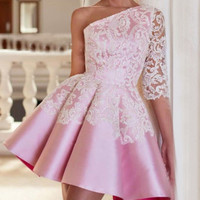 One Shoulder Half Sleeve Pink Lace Mini Homecoming Dress