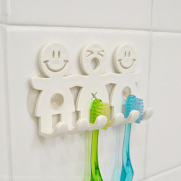 Smile Toothbrush Holder Family Set Wall Home Bathroom Hanger Sucker Hook Cup Stand