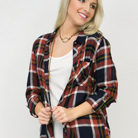Rust Rally Plaid Button Down Top
