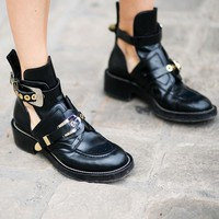 HZXINLIVE Silver Gold Buckle Ankle Boots for Women Cut out Low Heels Women Boots Autumn Shoes Woman Motorcycle Punk Boots
