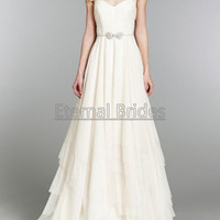 Ivory Zoe Bridal Gown/Wedding Dress  illusion straps waist with crystal a bow chiffon A-line chapel train.