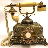 Vintage Ornate Bronze Victorian Rotary Telephone