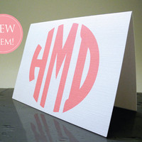 Circle Monogram Coral Stationery - Simple  - Note card set