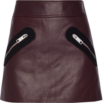 Versus Versace - Twill-trimmed leather mini skirt
