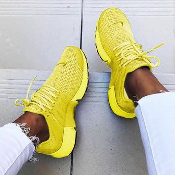 """NIKE""Air Presto Fashion Women Men Personality Running Sport Shoes Sneakers Yellow"