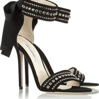 Brian Atwood | Crystal-embellished suede sandals | NET-A-PORTER.COM