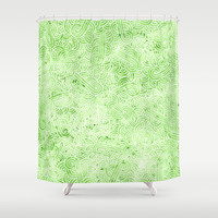 Greenery and white swirls doodles Shower Curtain by savousepate