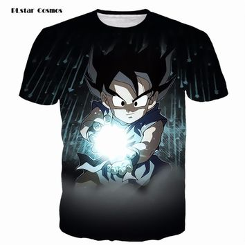 PLstar Cosmos Mens Black Tees Vintage Anime Dragon Ball Z Kid Goku 3D t shirt Male Galaxy Prints tshirts Casual Tee Shirts Tops