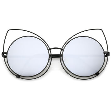 Women's Oversize Round Laser Cut Mirrored Lens Cat Eye Sunglasses C125