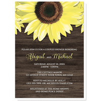 Couples Shower Invitations - Rustic Sunflower Wood
