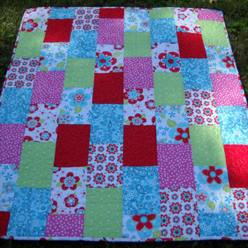 Handmade Aqua Pink Green Paisley Floral Baby Crib Quilt -Throw
