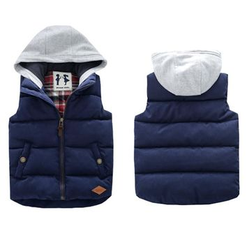 2016 Winter Boys Vest Kid Waistcoats Boy Child Sleeveless Jacket Thicken Kid Clothing Boy Outwear Autumn Hooded Coat
