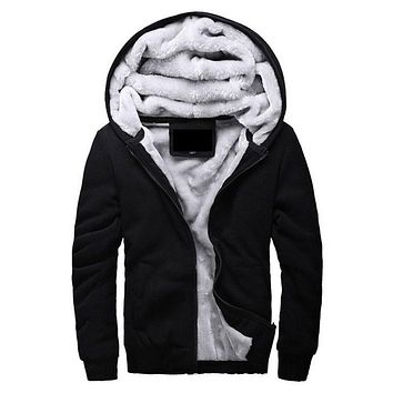 Men Hooded Casual Wool Liner / Winter Thick Warm Coat