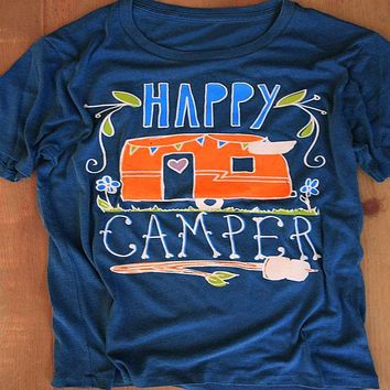 "Floral ""Happy Camper"" Graphic Tank"