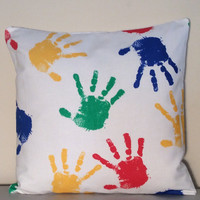 "Handmade Pillow Cover - Children's Hand Print in Multi Color 100% Cotton - READY TO SHIP - 14"" x 14"""