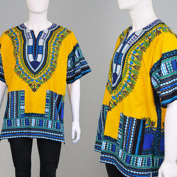 Vintage 70s Hippy Mens Dashiki West African Shirt Ethnic Top Angel Sleeve Festival Cotton
