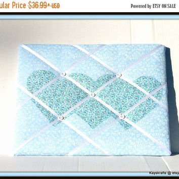 25% OFF Appliqued Blue Hearts Memory Board French Memo Board, Fabric Photo Picture Board, Fabric Ribbon Board, Home Decor, Nursery Decor