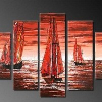 5 Pics Sailling Boat Large Modern Abstract 100% Hand Painted Oil Painting on Canvas Wall Art Deco Home Decoration (Unstretch No Frame)