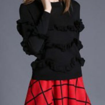 Women's Fashionable Long Sleeve Flounce Sweatshirt + Plaid Skirt Suit