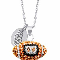 Oklahoma State University Swarovski Crystal Football Charm. Free Shipping