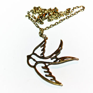 Swallow bronze necklace