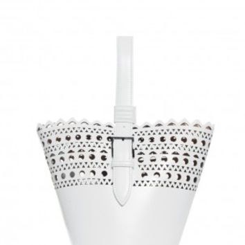 Boutique 1 - ALAIA - White Mini Tote Wristlet Bag | Boutique1.com