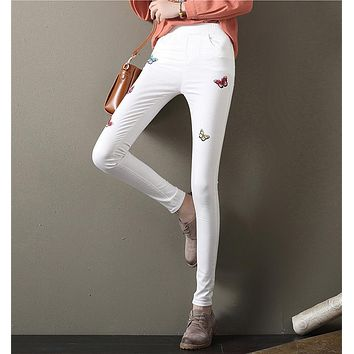 Women Casual Simple Butterfly Embroidery High Waist Jeans Pencil Pants Trousers