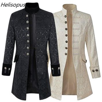 Helisopus Men Jacket Gothic Brocade Jacket Frock Coat Long Sleeve Stand Collar Steampunk Jacket Men's Vintage Overcoat