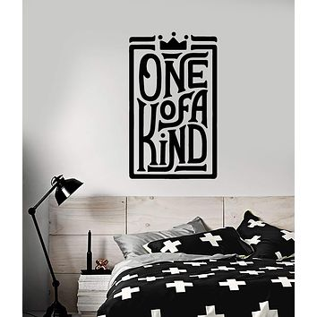 Vinyl Wall Decal Words Quote Crown One Of A Kind Stickers (3127ig)
