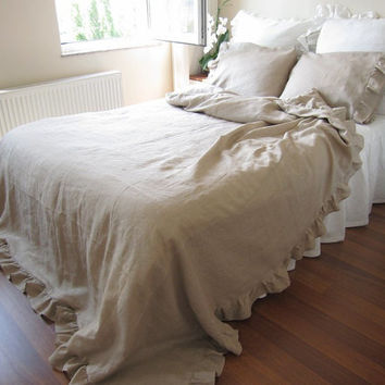 Shabby and elegant ruffle bedding NaturalTaupe camel brownish linen bed coverlet Queen duvet cover with 2 pillow cases