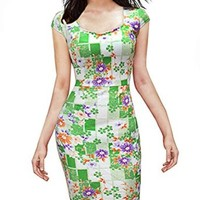 Senfloco Women's Summer Elegant Floral Square Neck Casual Party Pencil Dress