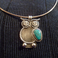 Authentic Navajo,Native American,Southwestern sterling silver turquoise owl pendant/necklace.