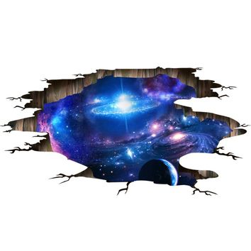 [SHIJUEHEZI] Universe Galaxy 3D Wall Stickers Vinyl DIY Milky Way Mural Art for Kids Rooms Toilet Floor Ceiling Decoration