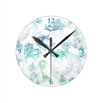 Alice in Wonderland Teatime Blue Aqua Clock