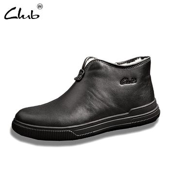 Club Men Boots Genuine Leather Winter Boots For Mens Round Toe Zipper Wool Ankle Leather Boots Winter Shoes Men Botas Masculina