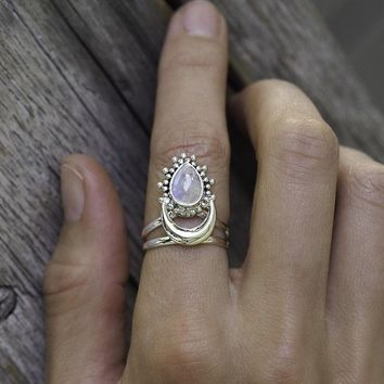 Phesee Large Antique Punk Jewelry Natural Marquise Moonstone Ring Charm Engagement Rings
